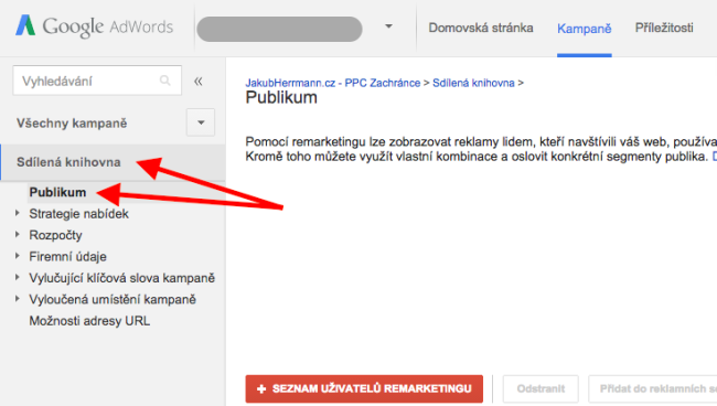 remarketingové publikum adwords